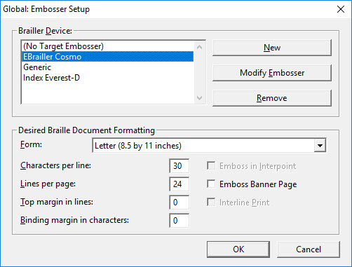 Image shows main Global: Embosser Setup dialog.
