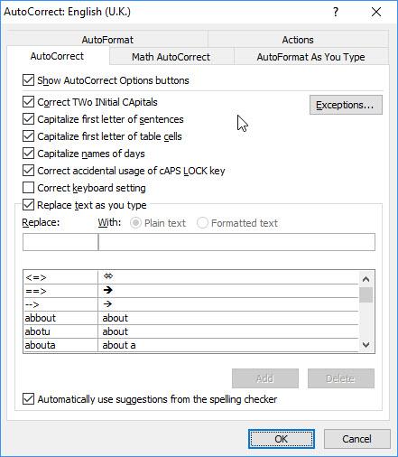 """Slika - AutoCorrect - AutoText Control Tab dijalog koji pokazuje polje za potvrdu, označeno je """"Show Autocomplete tip for AutoText and Dates""""."""