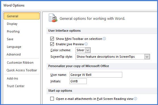 Word's main Options dialog