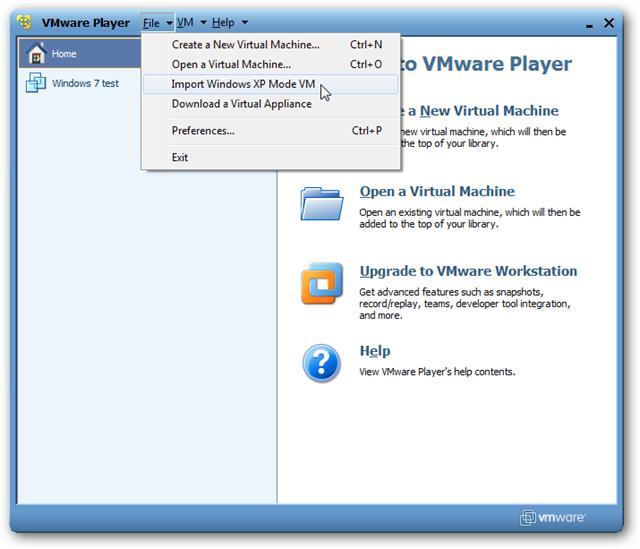 Run XP Mode on Windows 7 Machines Using VMware
