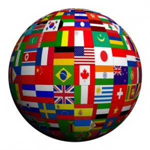 a globe made up of national flags